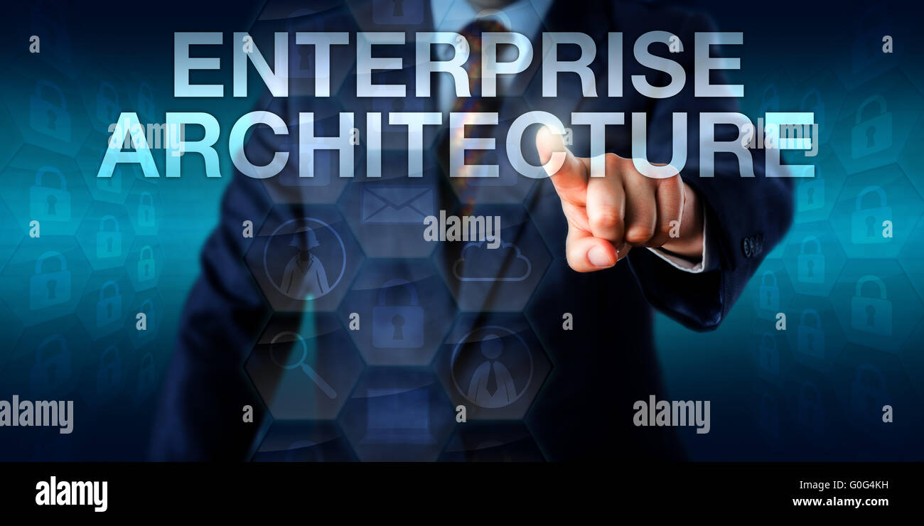 EA Manager Is Touching ENTERPRISE ARCHITECTURE - Stock Image