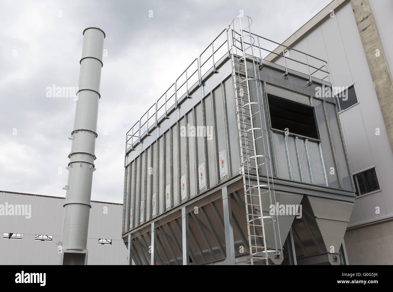 Waste plant outside process storage methane oil organic - Stock Image
