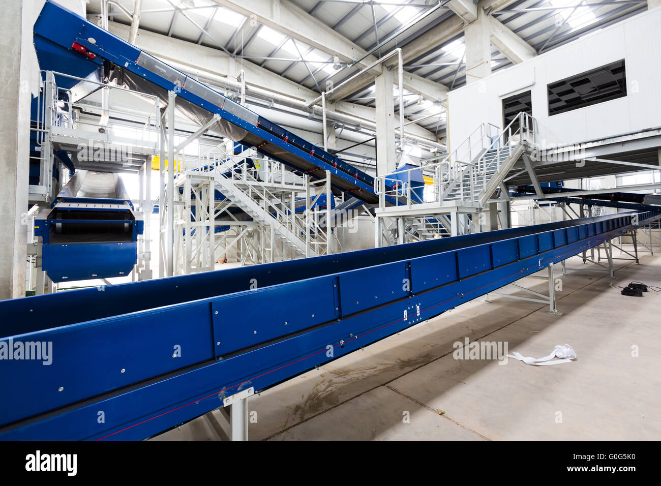 Waste plant inside process storage methane oil organic - Stock Image