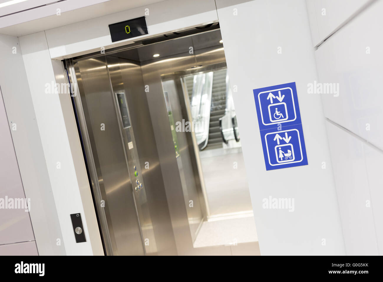 Opened elevator for mothers and physically disabled - Stock Image