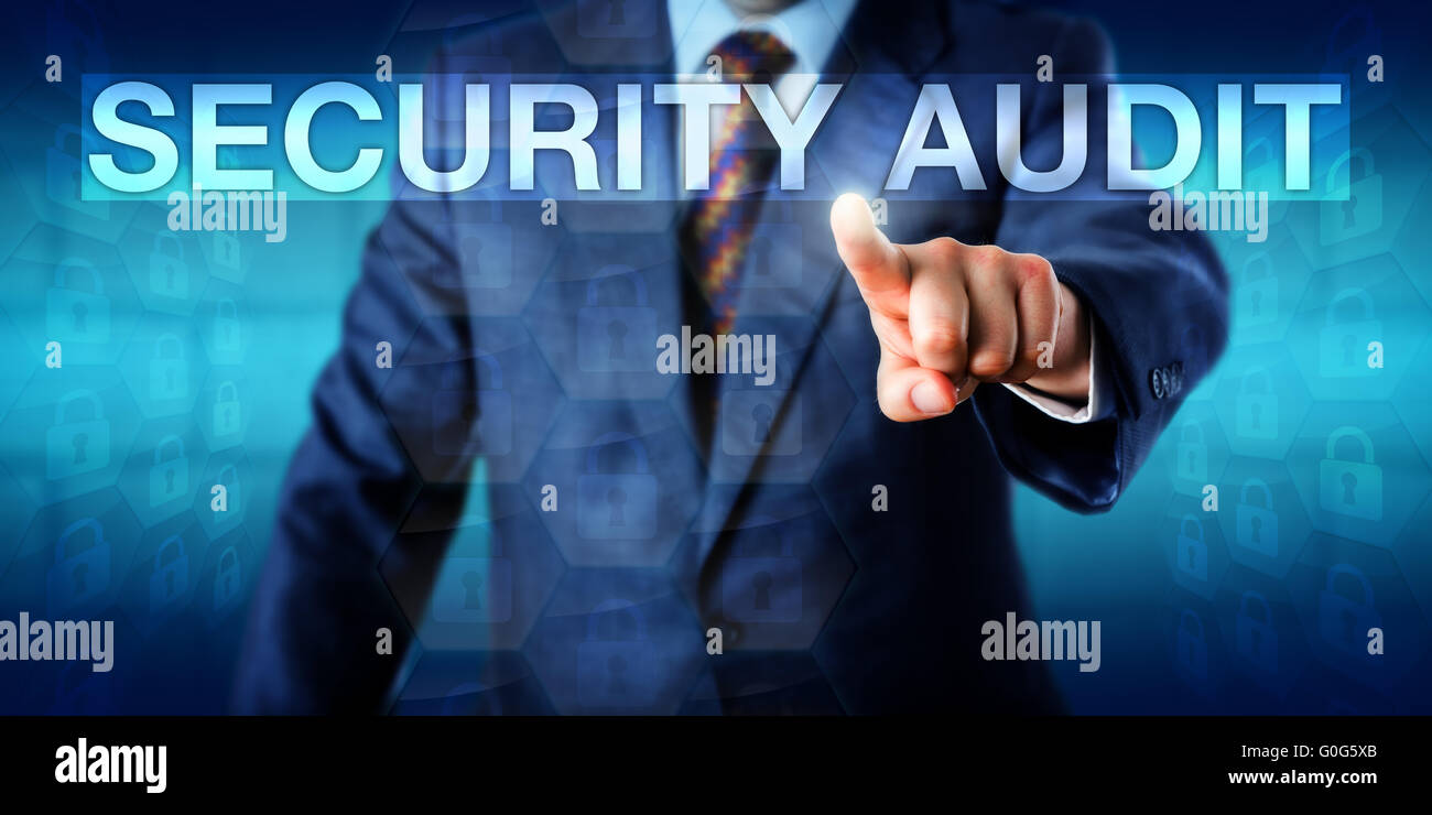 Auditor Pressing SECURITY AUDIT Onscreen - Stock Image