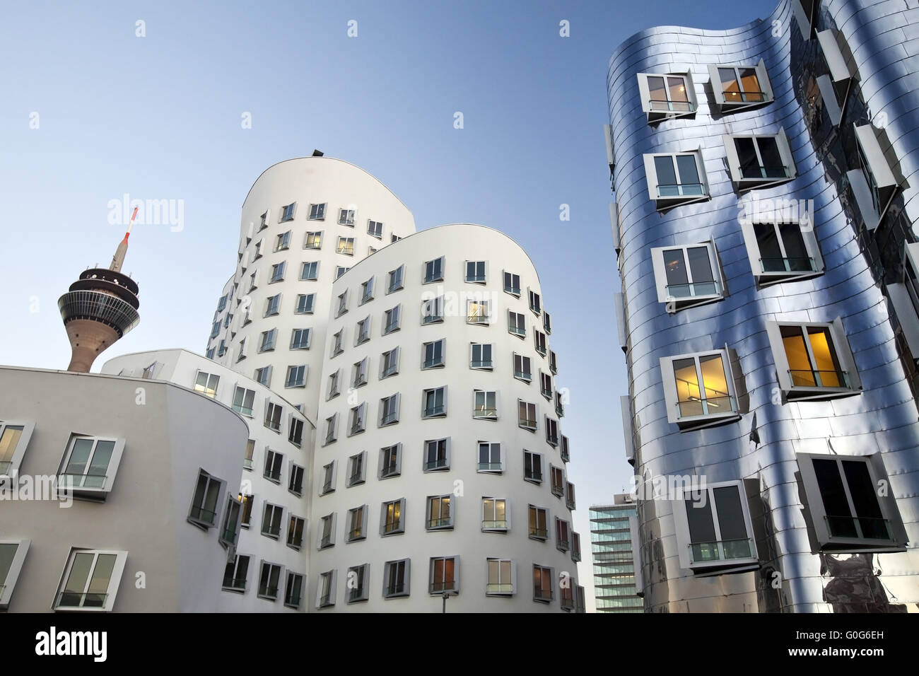 Two Gehry buildings and the Rhine Tower, Duesseldorf, North Rhine-Westphalia, Germany, Europe - Stock Image