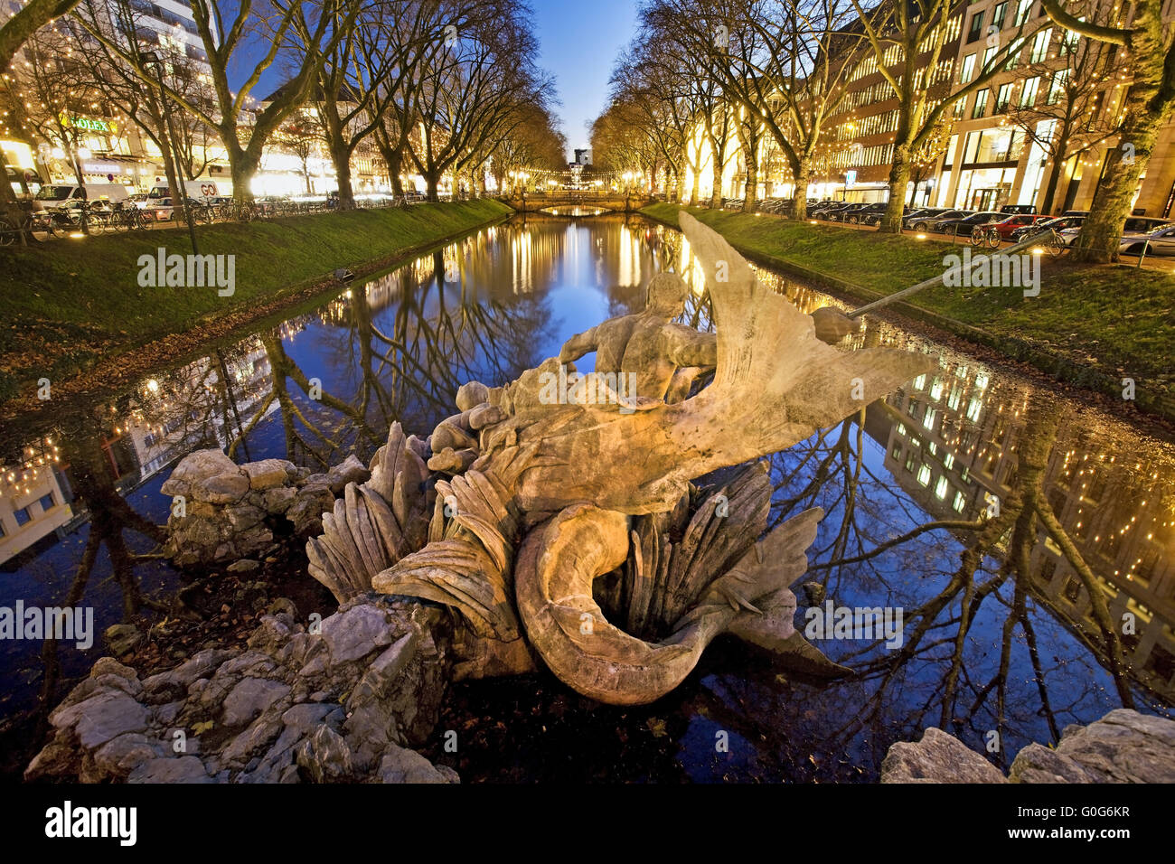 The Triton Fountain at the Koenigsallee, Duesseldorf, North Rhein Westphalia, Germany, Europe Stock Photo