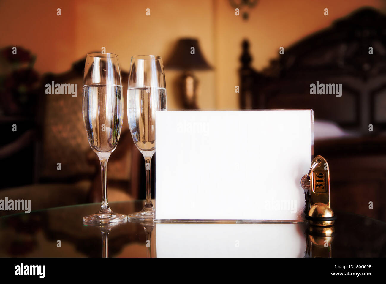Luxury hotel room. Blank card for your text. - Stock Image