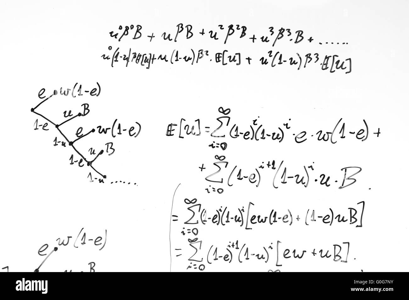 Complex math formulas on whiteboard. Mathematics and science with economics - Stock Image