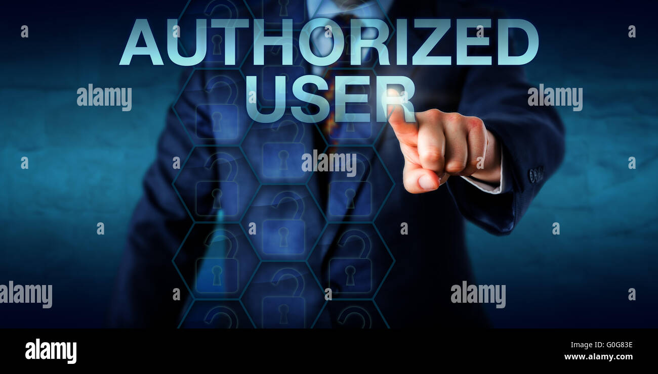 Manager Pressing AUTHORIZED USER Onscreen - Stock Image