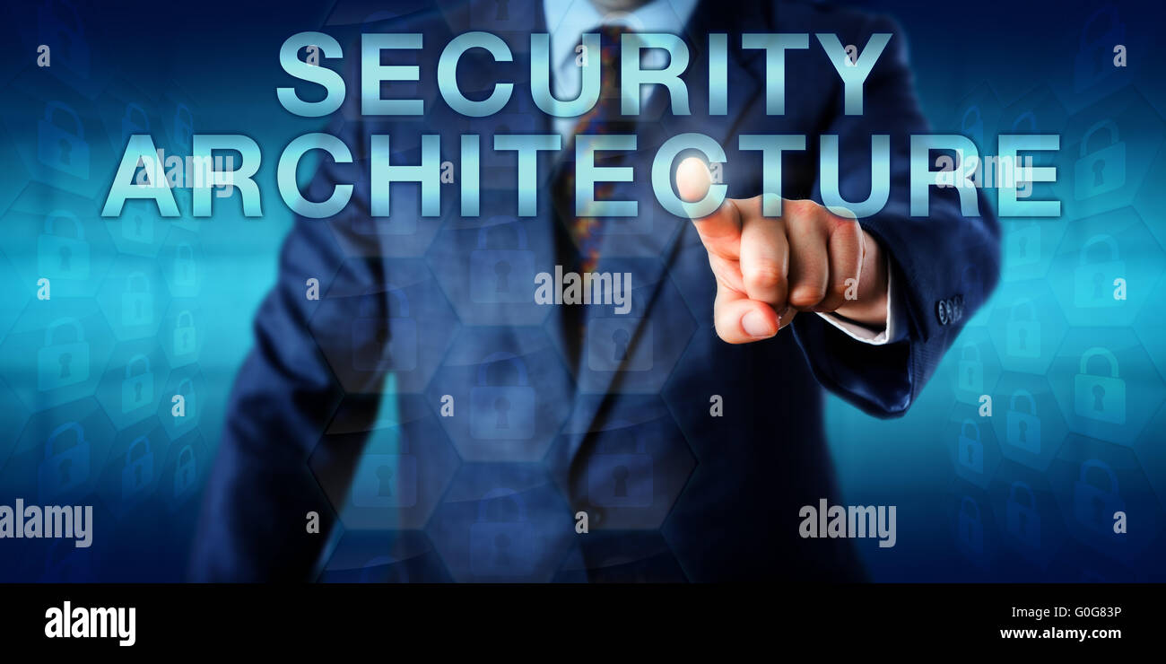 Consultant Pushing SECURITY ARCHITECTURE Onscreen - Stock Image