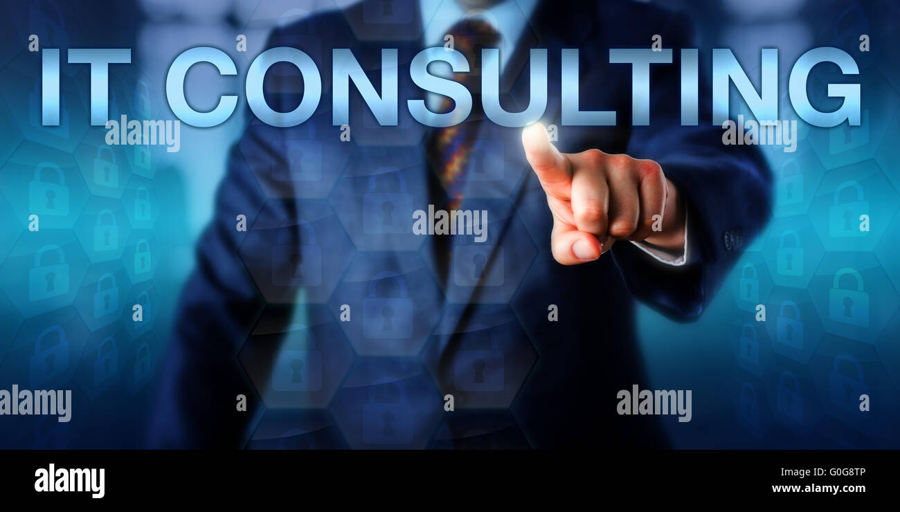 Business Manager Pressing IT CONSULTING Onscreen - Stock Image