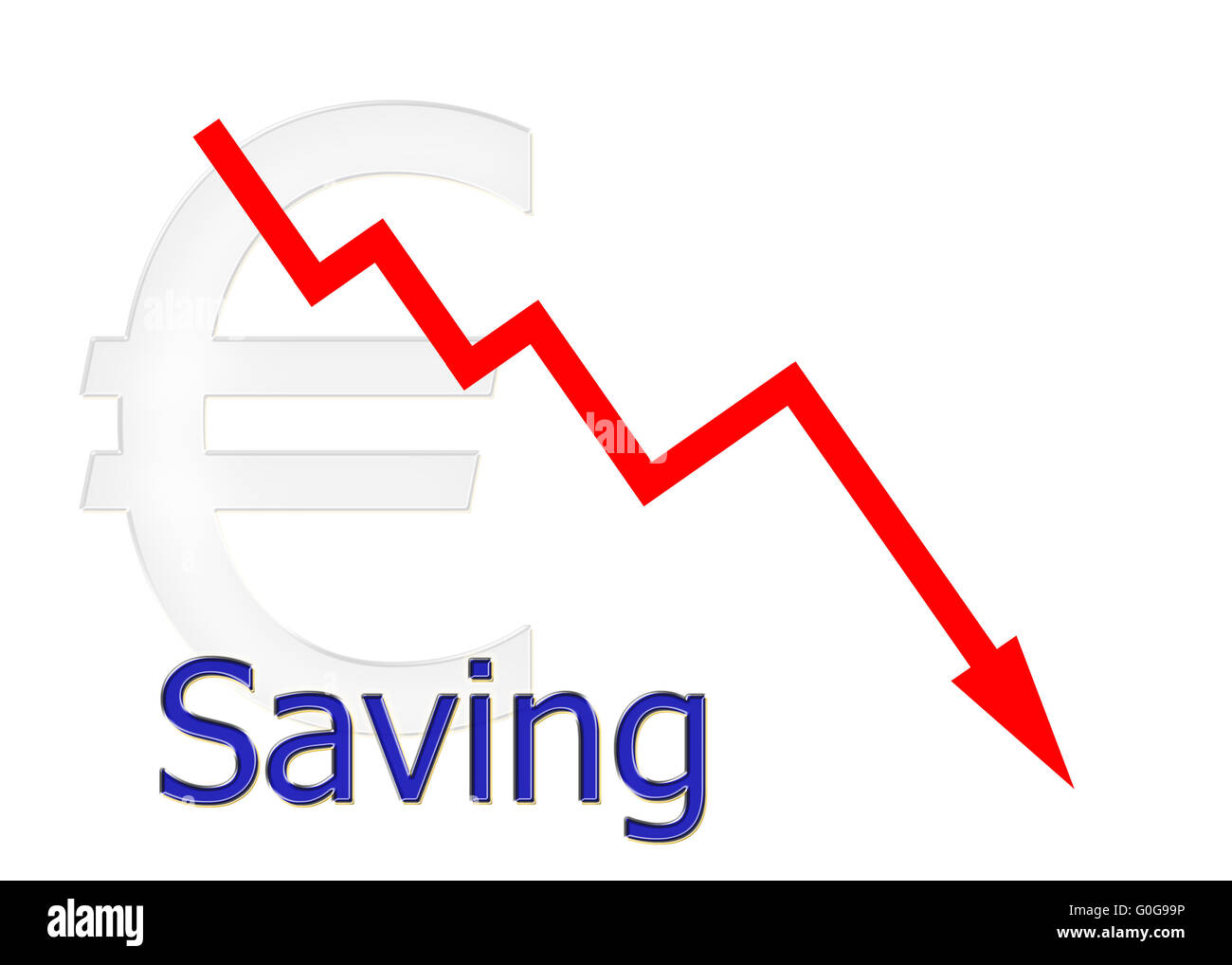 red diagram downwards with euro symbol Stock Photo