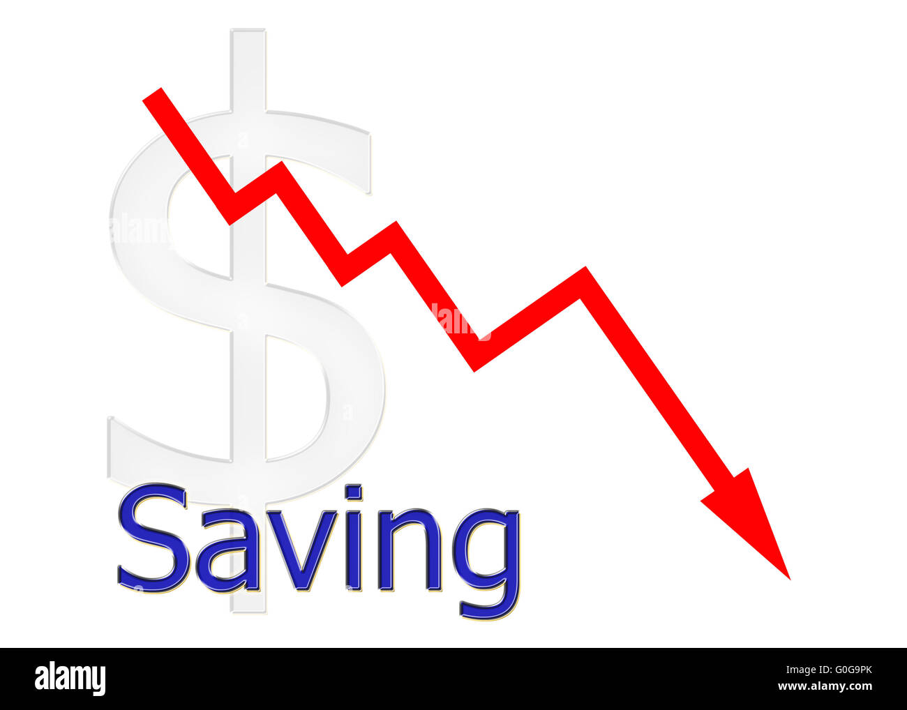 red diagram downwards with dollar symbol Stock Photo