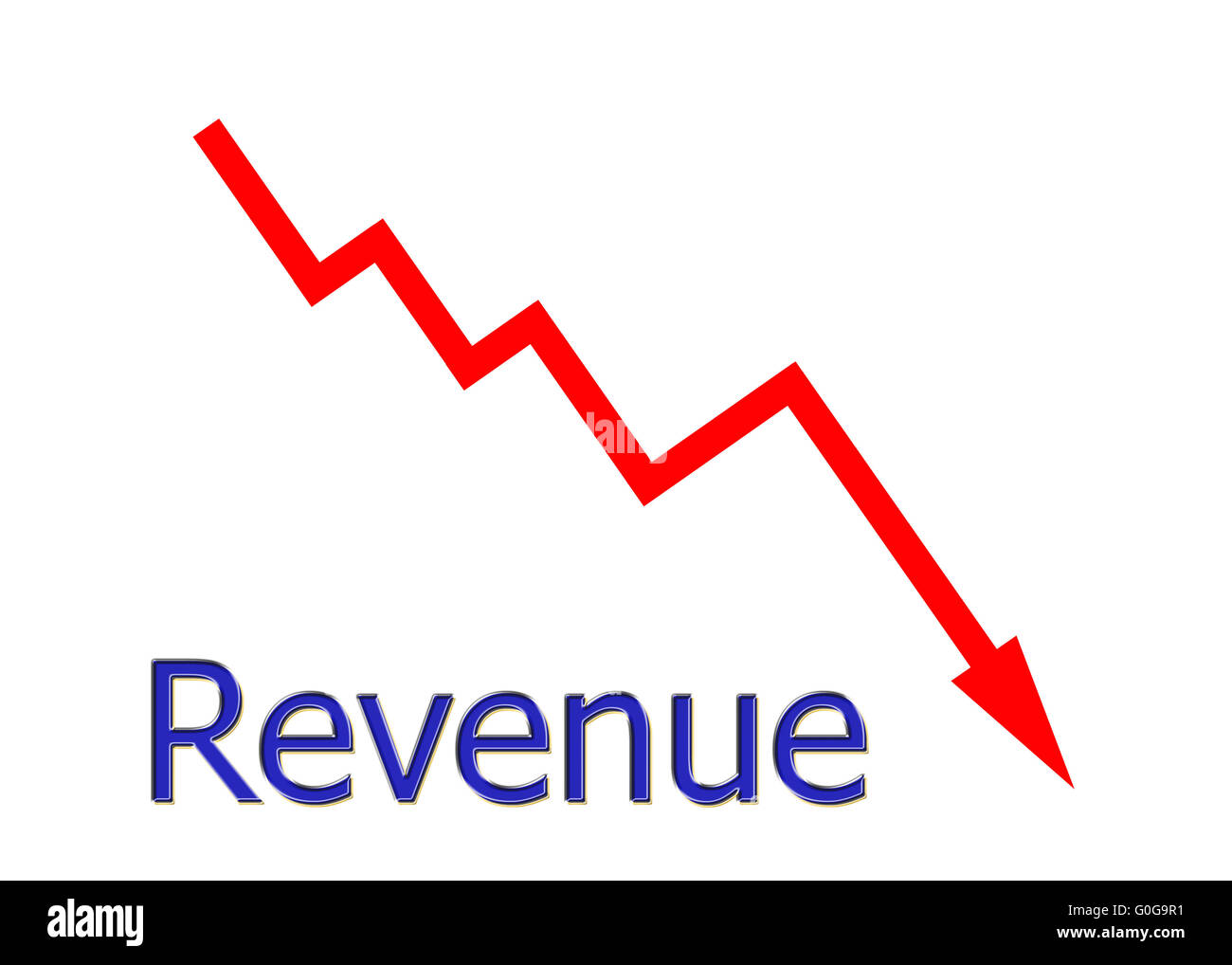 red diagram downwards Stock Photo