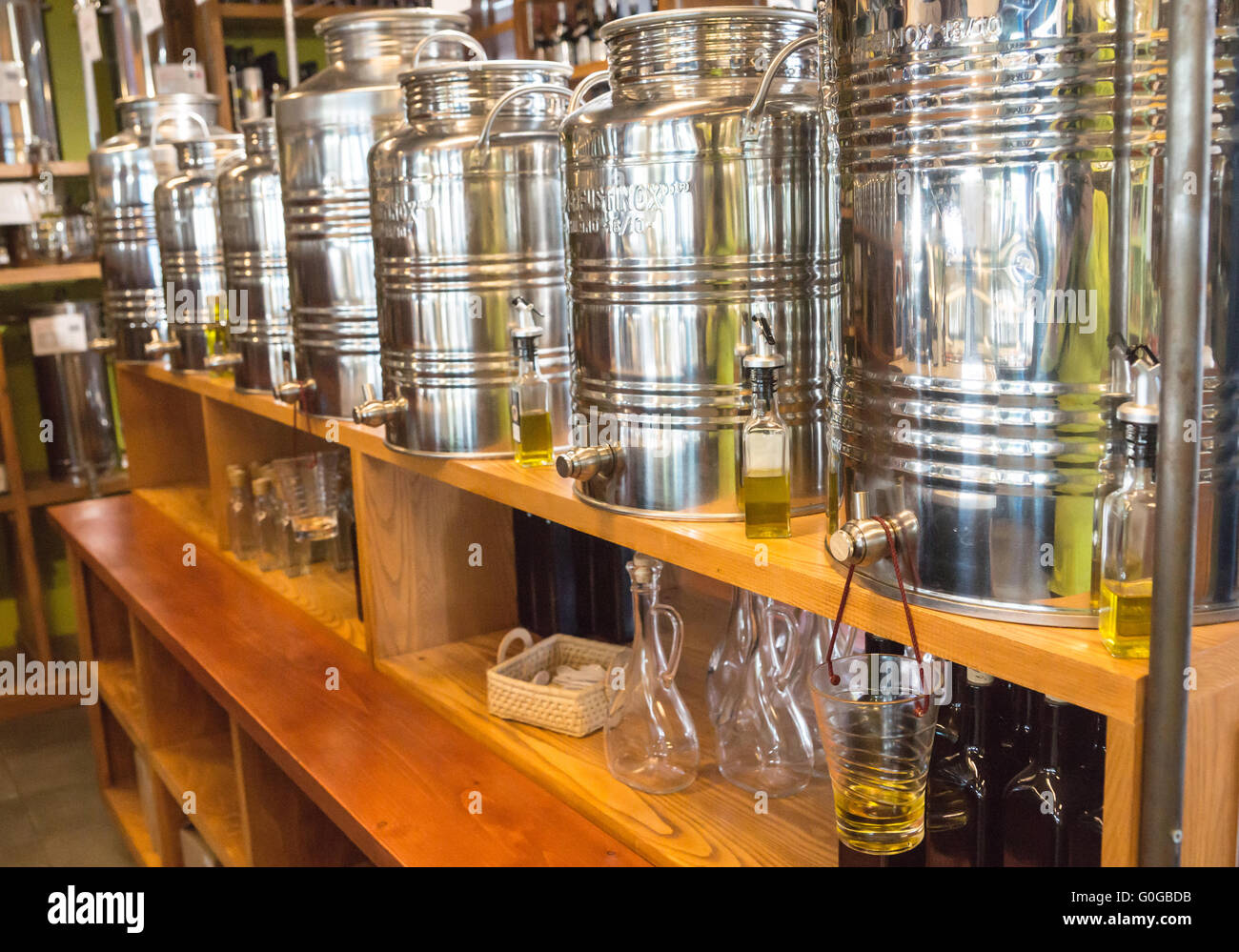 Olive Oil Containers - Stock Image