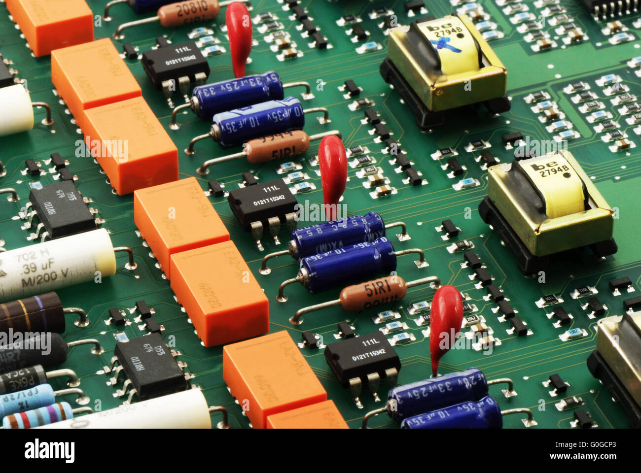 Circuit board close up side view for background - Stock Image