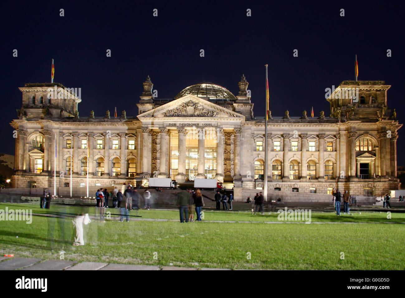 Reichstagsgebaeude, Abendstimmung, Berlin-Tiergarten. - Stock Image