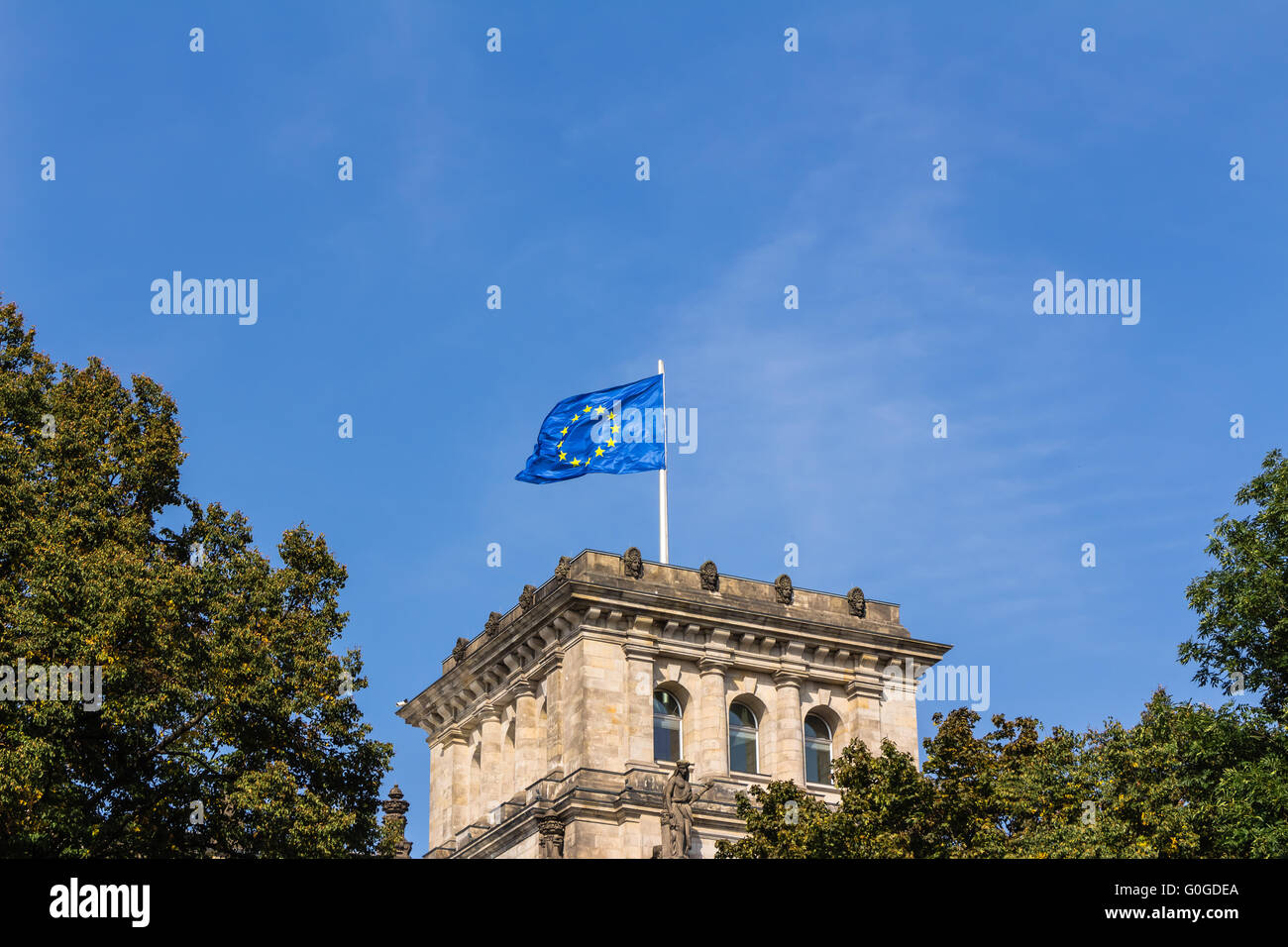 Flags on the Reichstag building Berlin - Stock Image