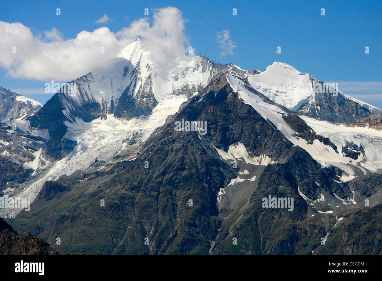 Weisshorn, Bishorn, vom Seetalhorn aus gesehen, Schweiz. - Stock Image
