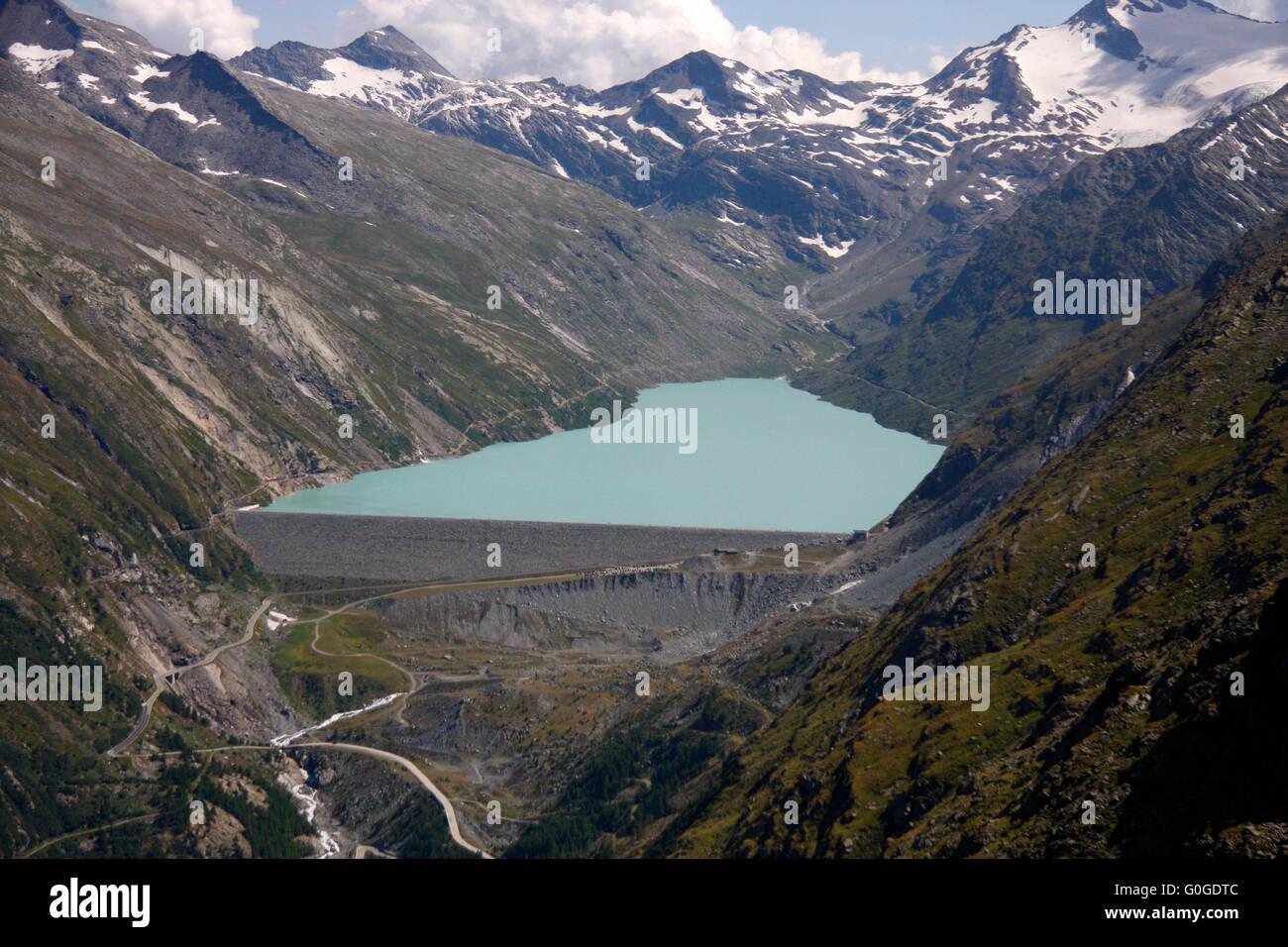 Stausee Mattmark, schweizer Alpen. - Stock Image