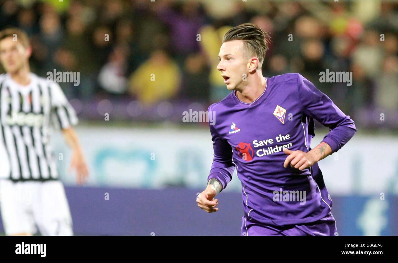 ITALY, Florence: Fiorentina's forward Bernardeschi looks during the Italian Serie A football match between ACF - Stock Image