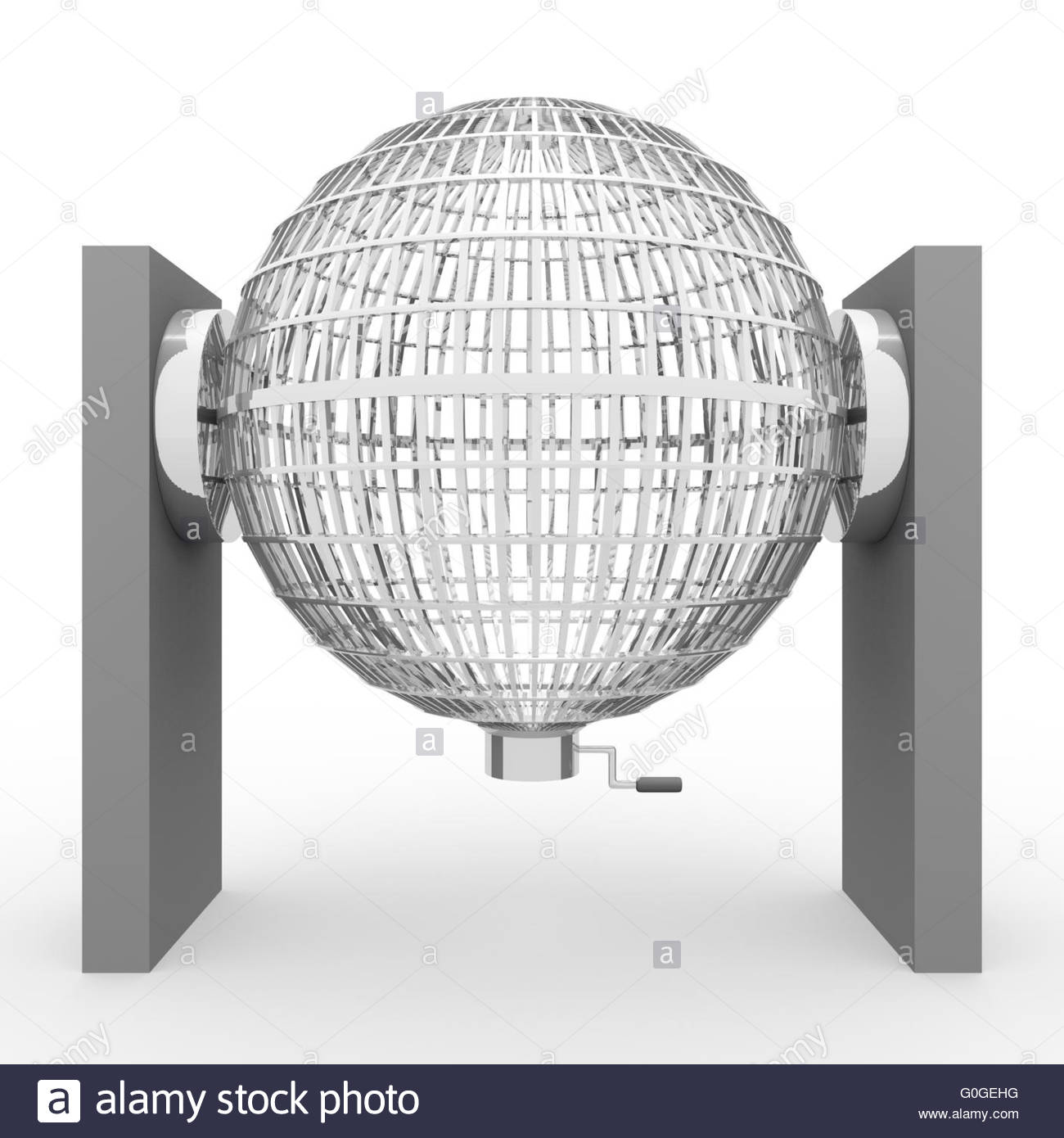 Circled silver lottery cage. National lottery. Loteria nacional - Stock Image