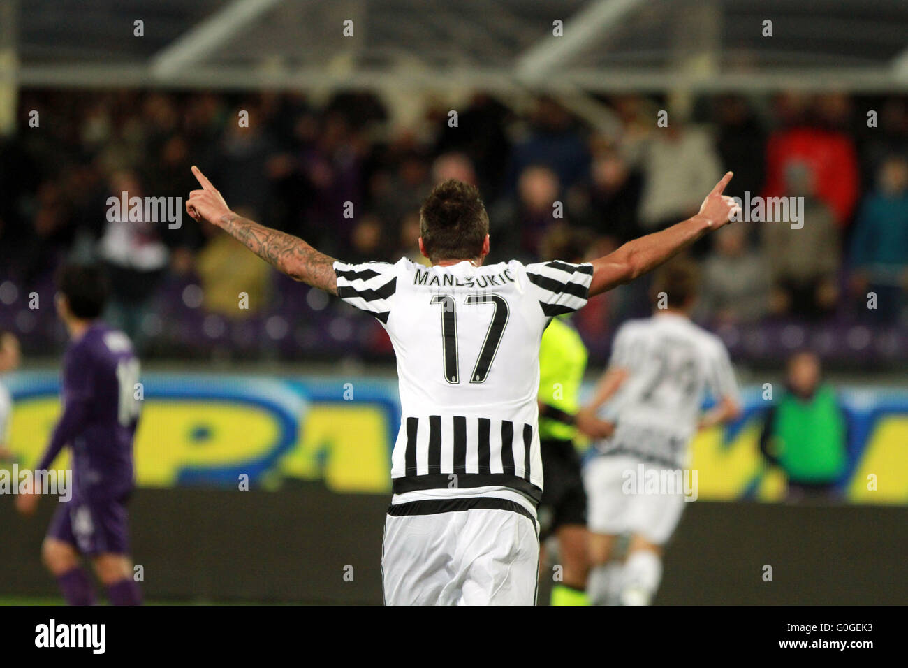 ITALY, Florence: Juventus's forward Mario Mandzukic reacts during the Italian Serie A football match between - Stock Image