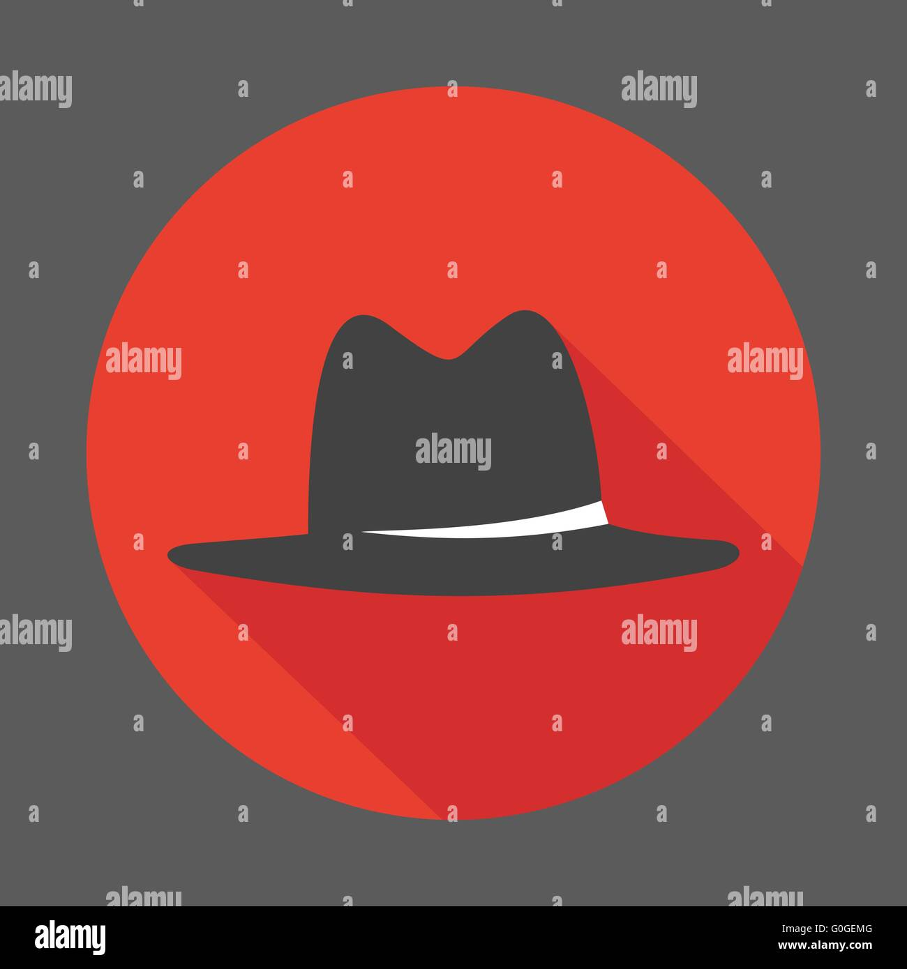 Mafia hat flat icon - Stock Image