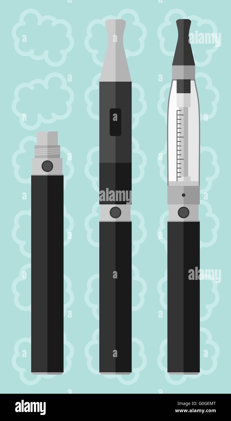 Vaping electronic cigarette with clearomizer - Stock Image