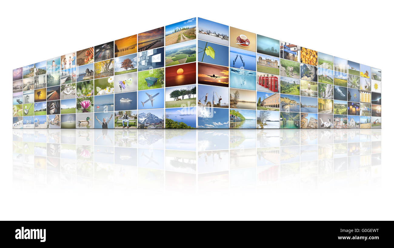 100 screens video wall - Stock Image