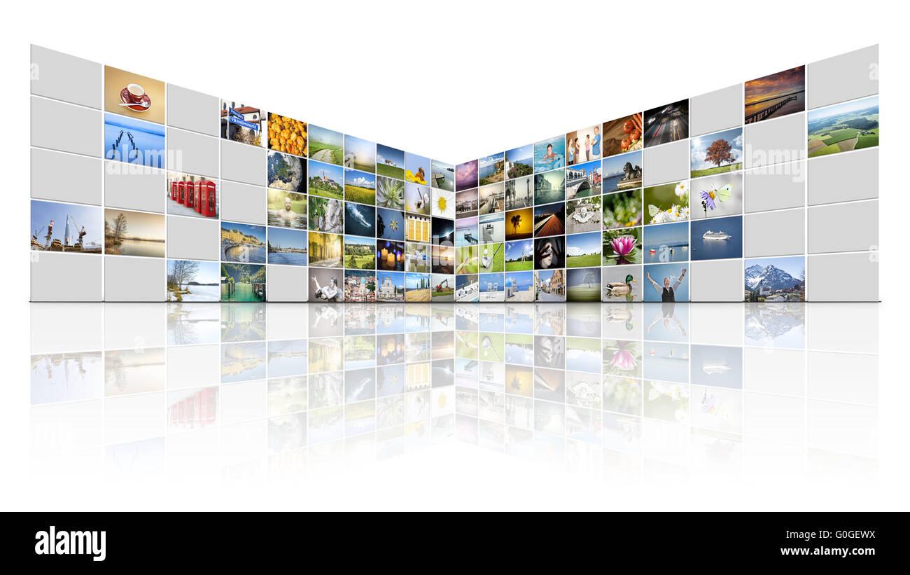 100 screens video wall - Stock Image