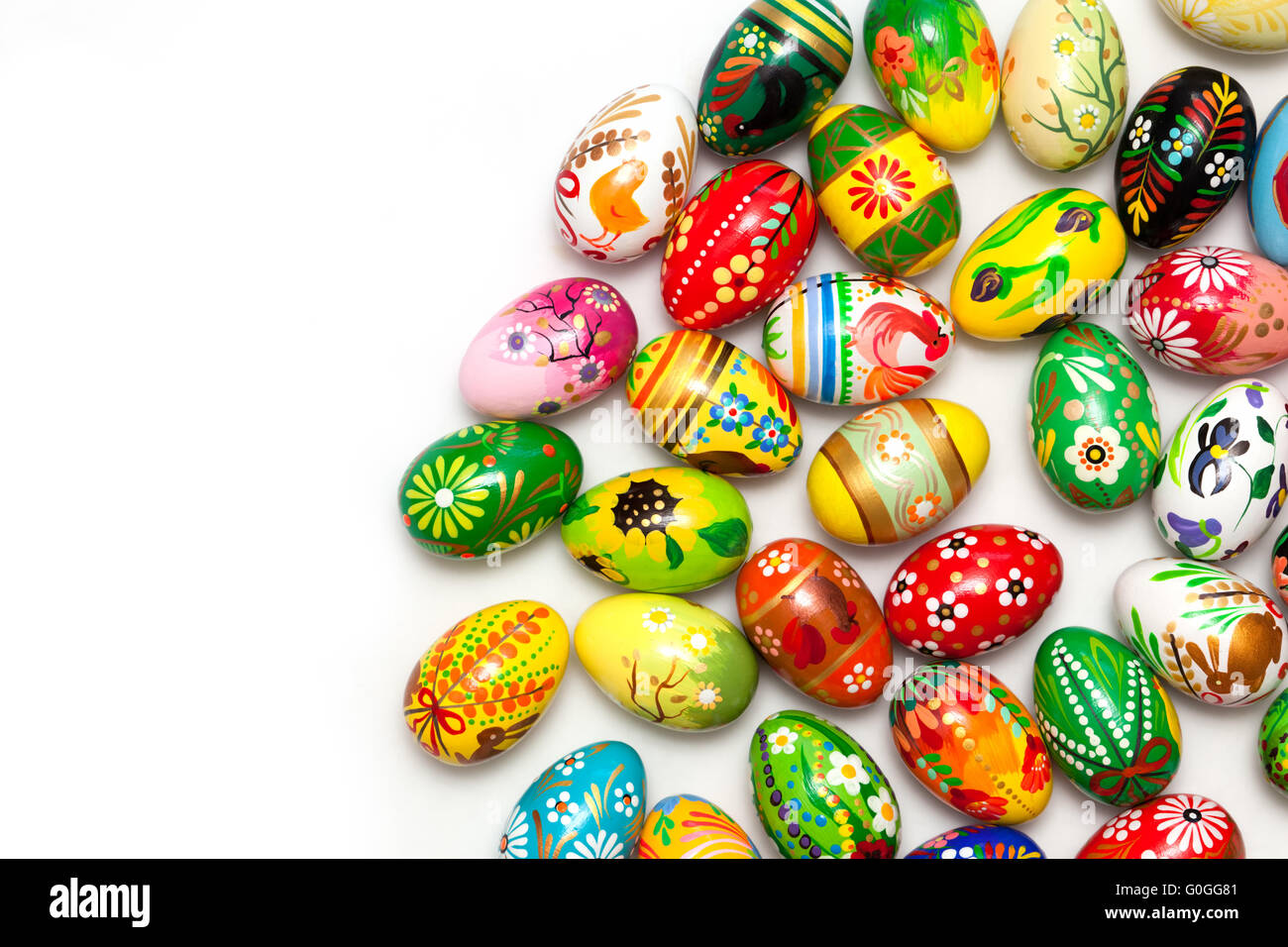 Hand painted Easter eggs isolated on white. Floral - Stock Image