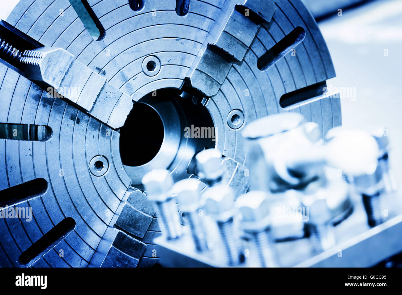 Drilling, boring and milling machine in workshop. Industry - Stock Image
