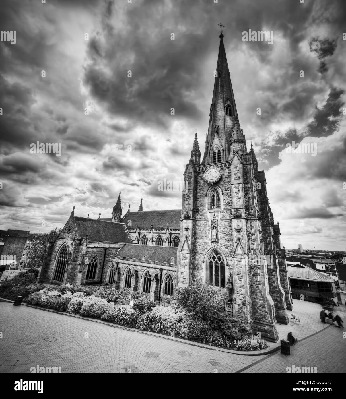 St Martin in the Bull Ring church in Birmingham, UK. Black and white - Stock Image