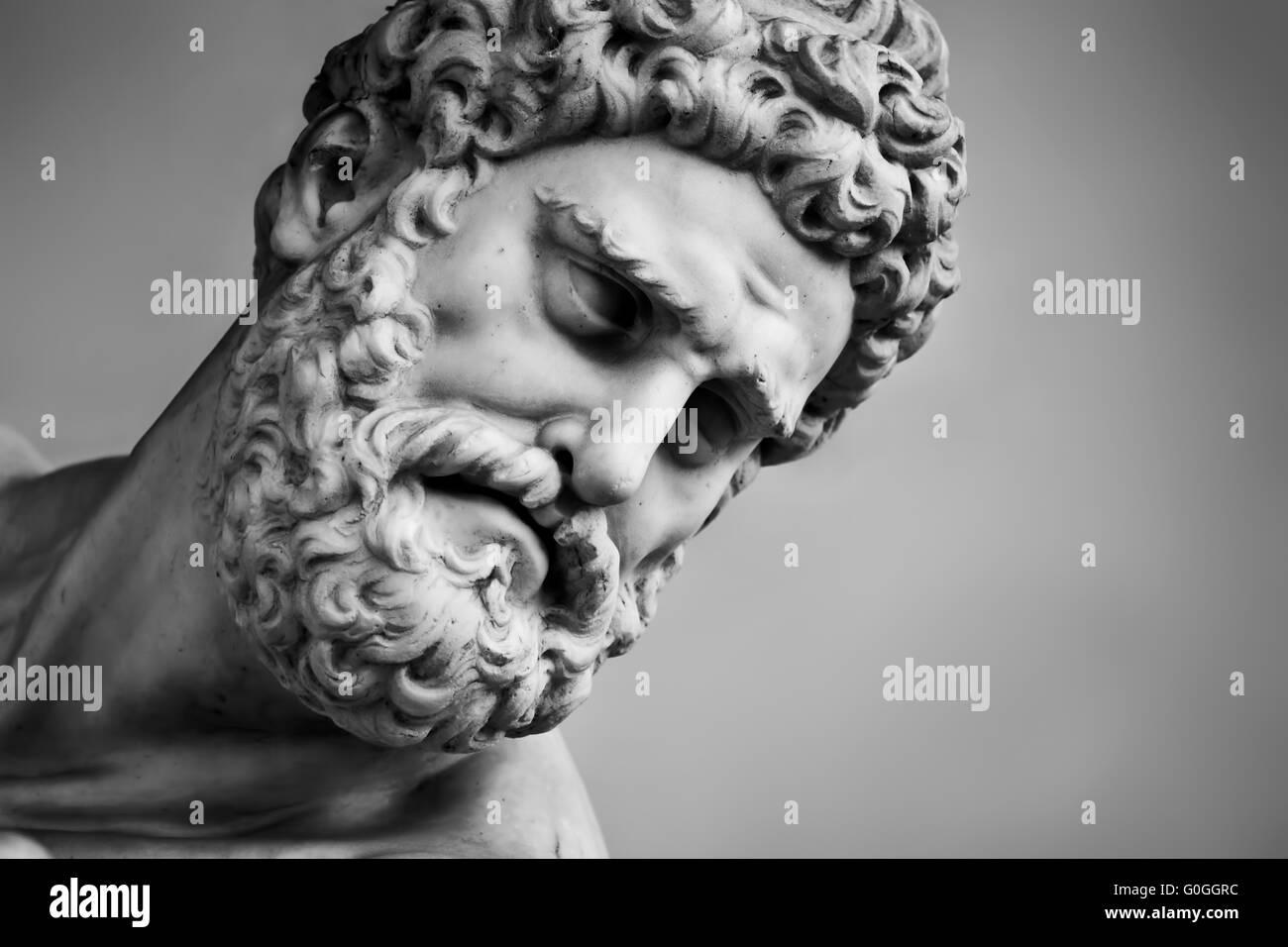 Ancient sculpture of Hercules and Nessus. Florence, Italy. Head close-up - Stock Image
