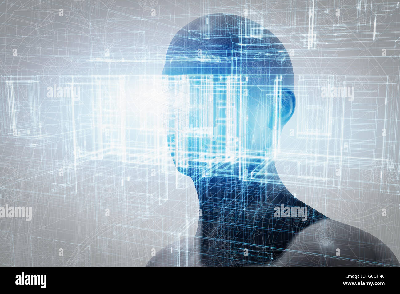 Virtual reality projection. Future science with modern technology, artificial intelligence - Stock Image