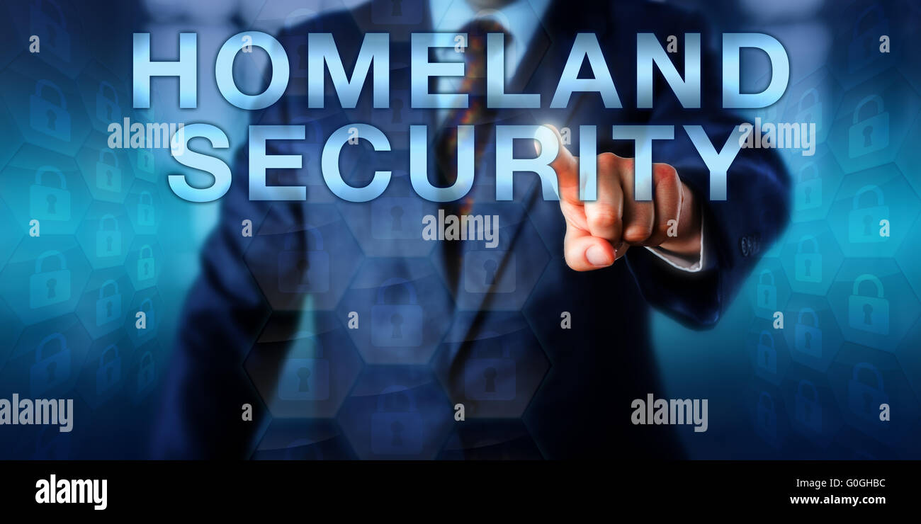 Professional Pushing HOMELAND SECURITY Onscreen - Stock Image