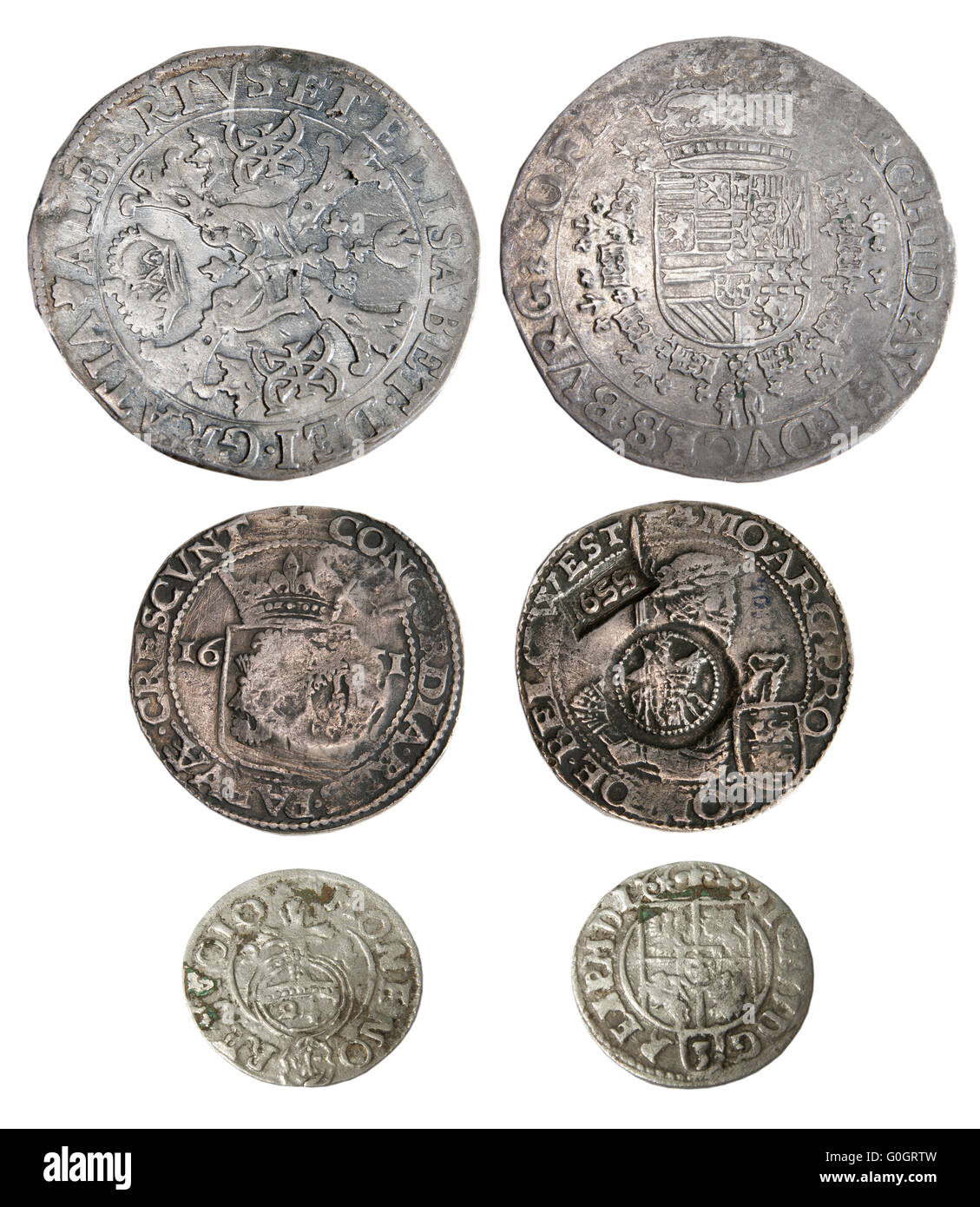 Ancient coins of different metals - Stock Image