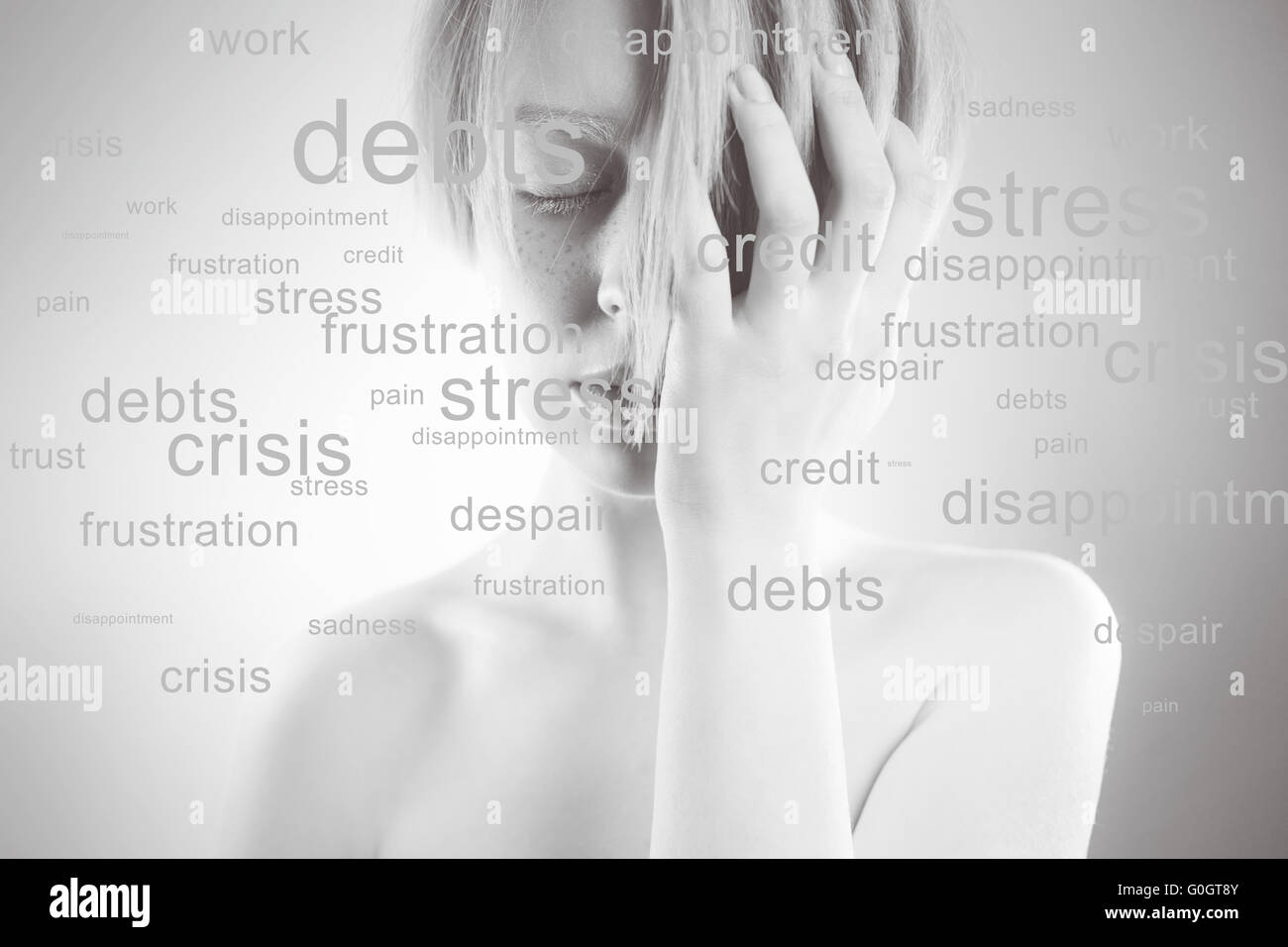 Stressed woman. Conceptual image,  portrait of  girl, many problems around, words about the head - Stock Image