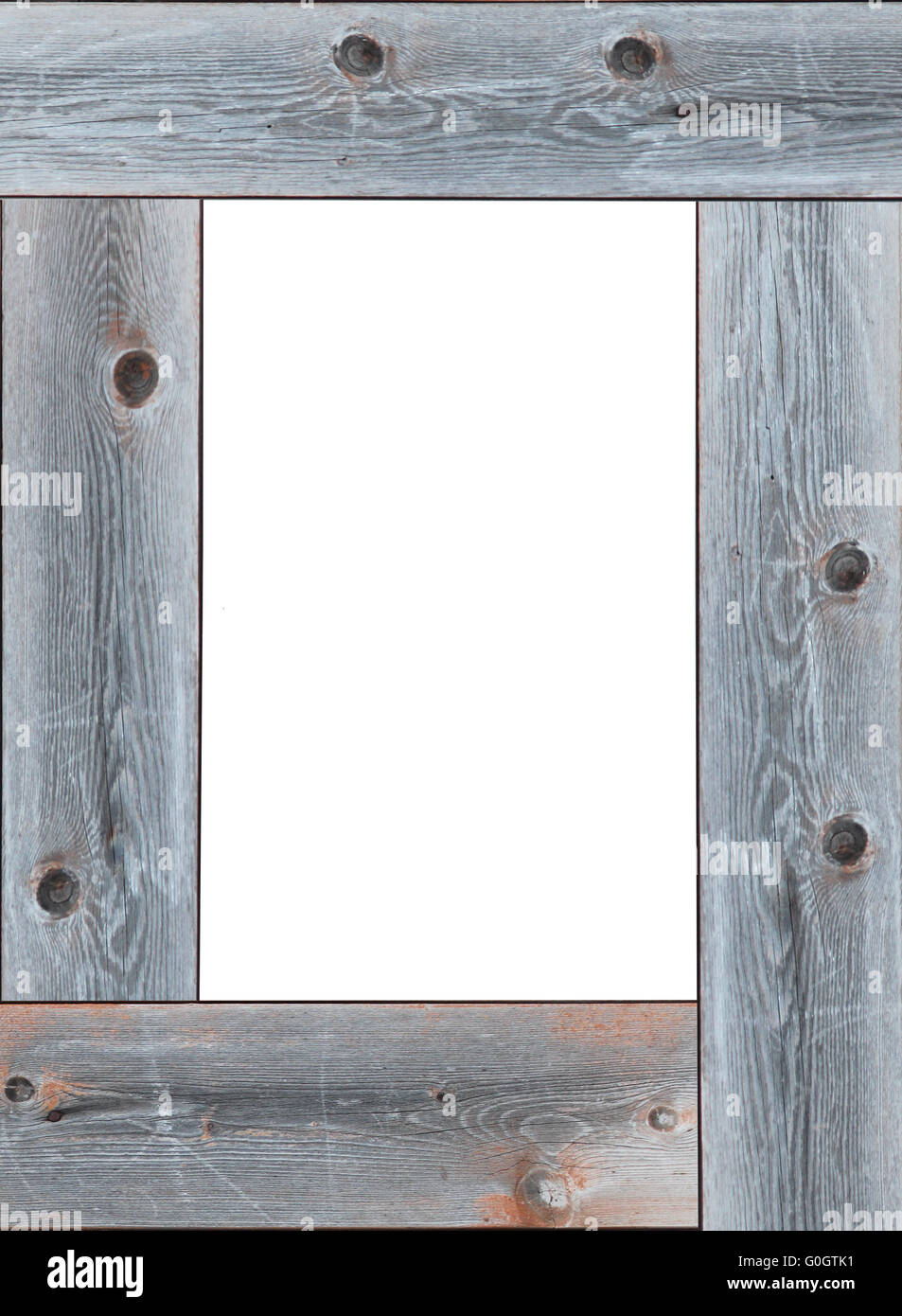 wooden frame with empty white place for text - Stock Image