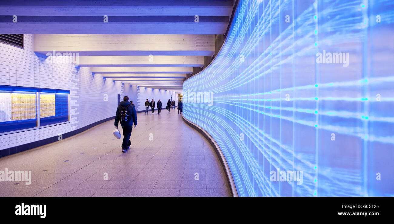railway station underpass with blue LED screen in the facade, Essen, Ruhr Area, Germany, Europe - Stock Image
