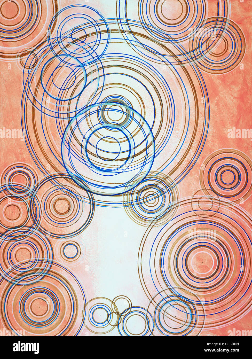 An abstract painting of concentric rings - Stock Image