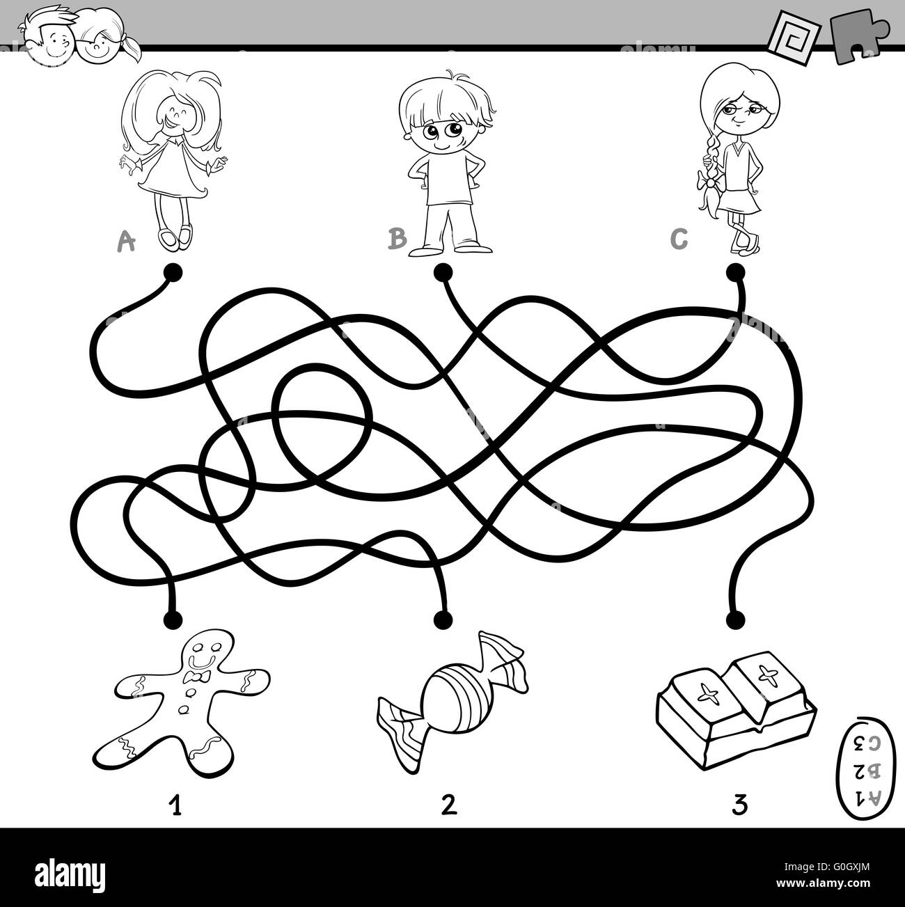 Maze Puzzle Coloring Page Stock Photo 103634348 Alamy