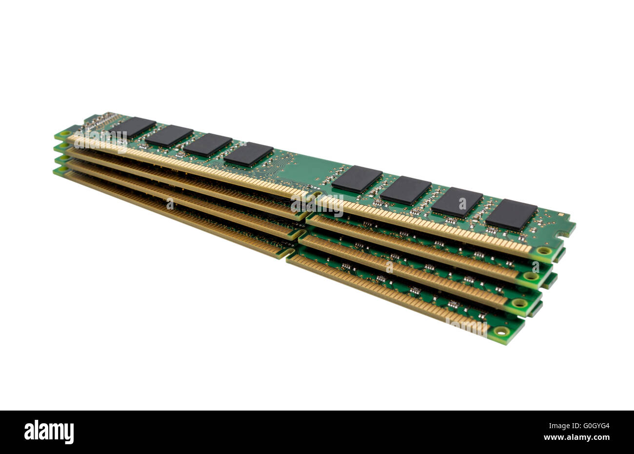 Electronic collection - computer random access memory (RAM) modules isolated on the white background - Stock Image