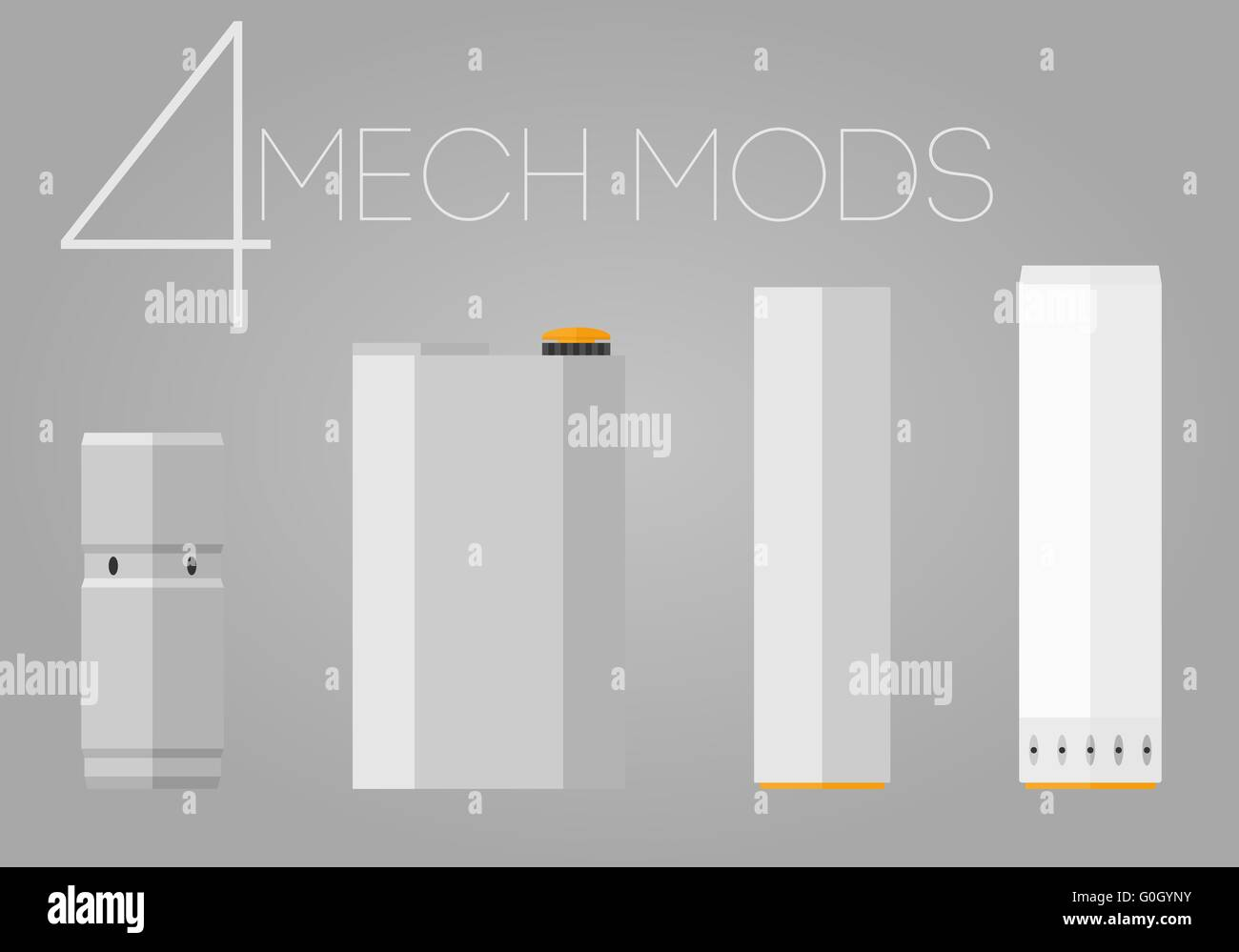 4 colored mechanical mods icons set - Stock Image