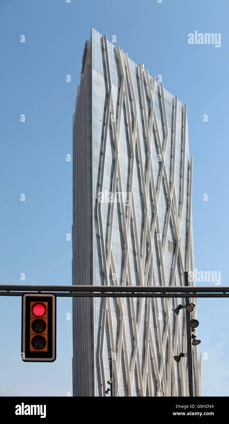 red traffic light in the city - Stock Image