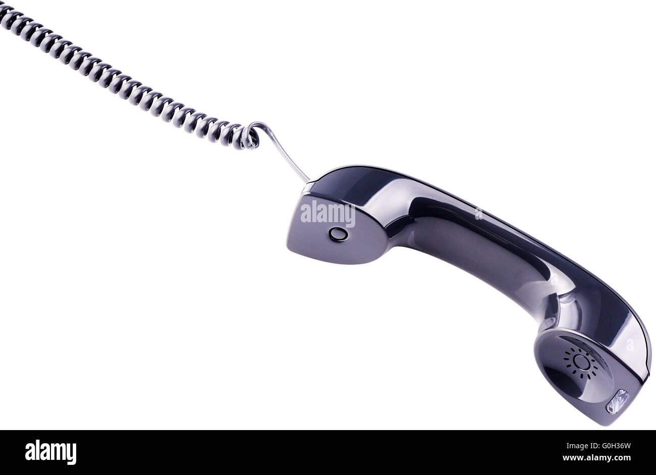 Phone handset with cord isolated on the white - Stock Image