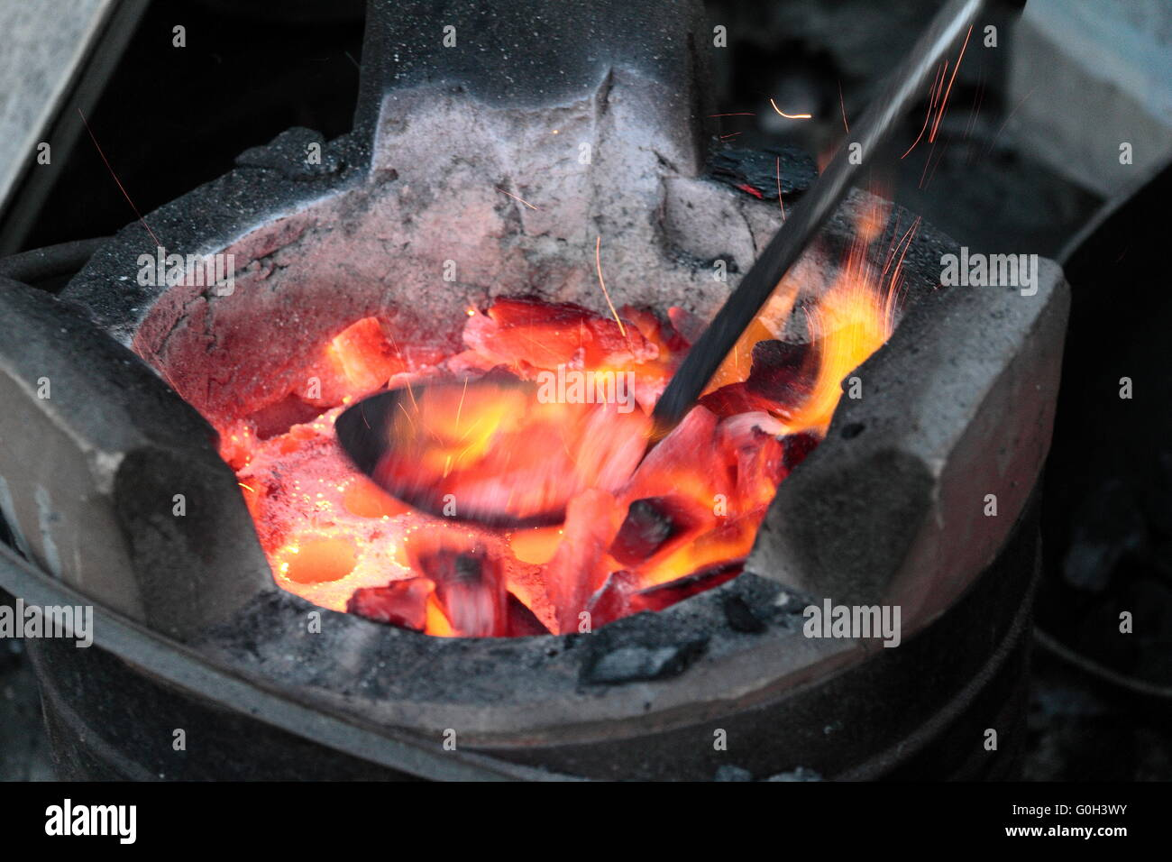 Thai cooking stove tool used for a long time - Stock Image