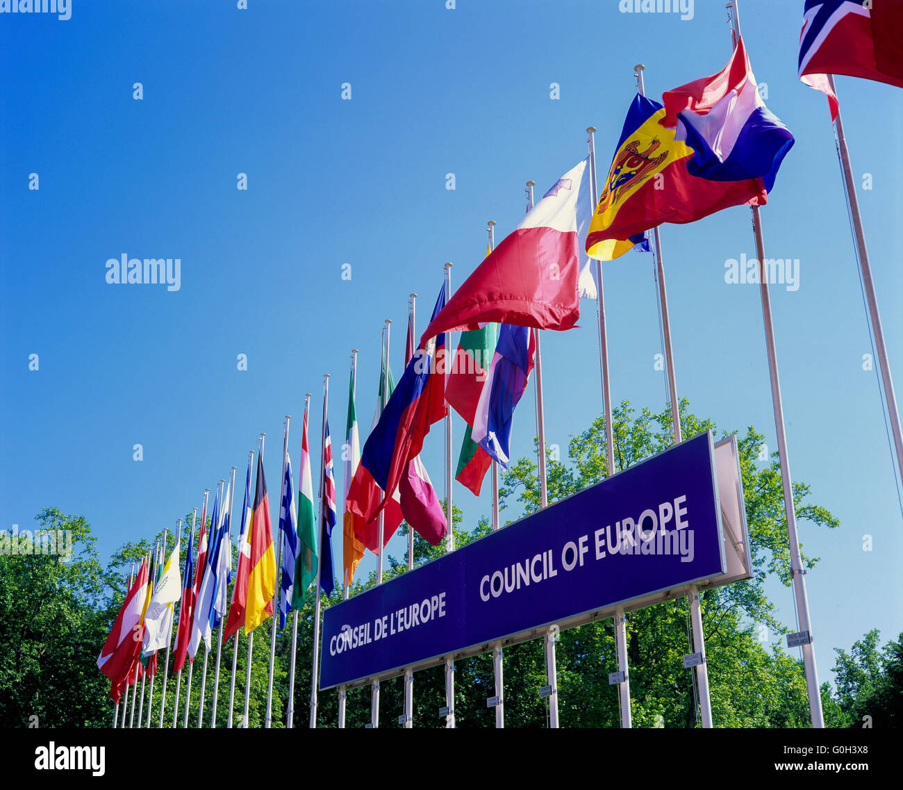 Flags of European countries and Council of Europe sign, Strasbourg, Alsace, France - Stock Image