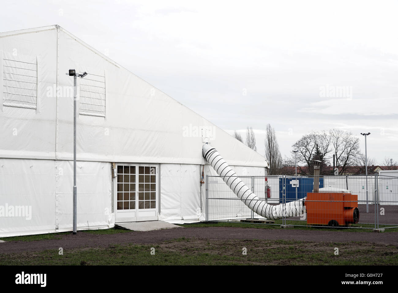 makeshift refugee camp in tents for refugees in Magdeburg in Germany - Stock Image
