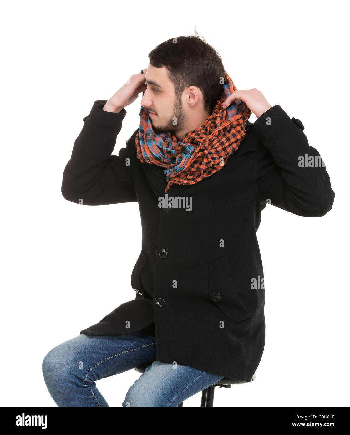 Young Casual Unshaved Man - Stock Image