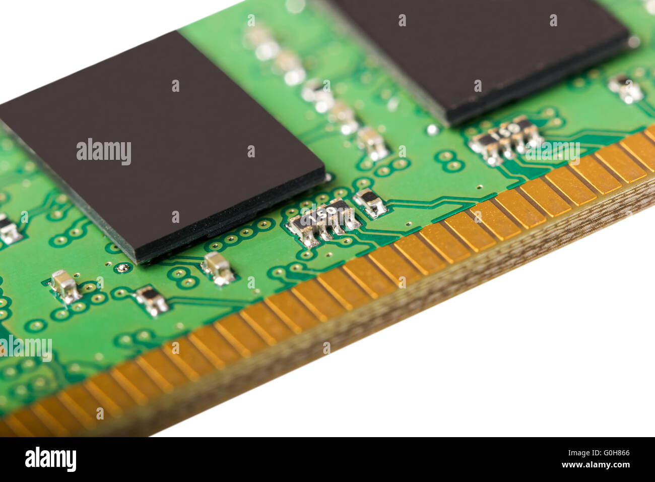 Computer random access memory (RAM) modules isolated on the white background - Stock Image