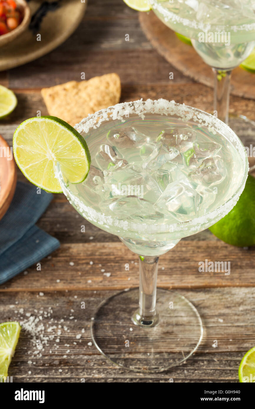 Refreshing Homemade Classic Margarita with Lime and Salt - Stock Image